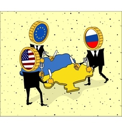 Europe america and russia want to eat a ukraine vector