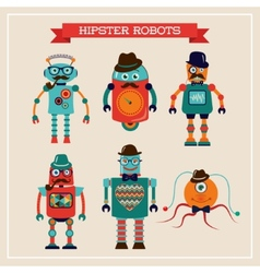 Set of cute retro vintage hipster robots vector