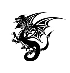 Black dragon tattoo vector