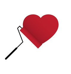 Love heart with paint roller brush vector