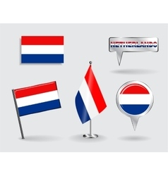 Set of dutch pin icon and map pointer flags vector