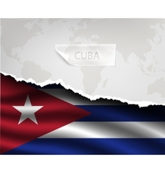 Paper with hole and shadows cuba flag vector