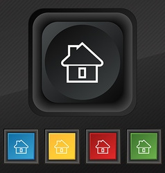 House icon symbol Set of five colorful stylish vector image