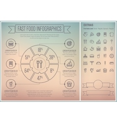 Fast food line design infographic template vector