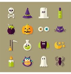 Flat magic halloween witch objects set with shadow vector
