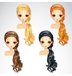 Set of beauty event hairstyle vector