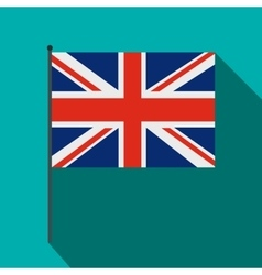 Great britain flag with flagpole icon flat style vector