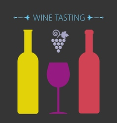 Wine tasting card two yellow and red bottles vector