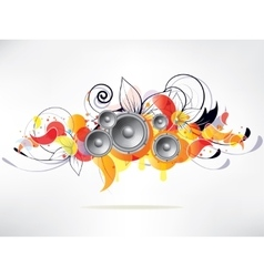 abstract music background with floral elements and vector image vector image