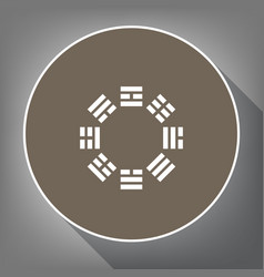 Bagua sign white icon on brown circle vector