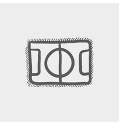 Basketball court sketch icon vector