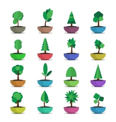 Bonsai trees icons set japanese style vector
