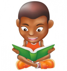 boy reading a book vector image vector image