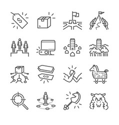 business strategy line icon set vector image vector image