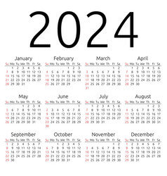 Calendar 2024 sunday vector