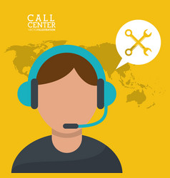 call center man microphone earphones vector image vector image