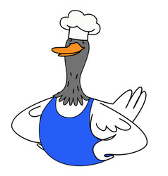 Cartoon duck chef in a blue apron vector