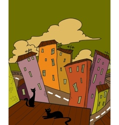 Cat city vector image