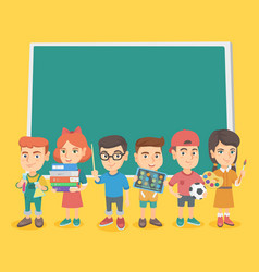 caucasian classmates standing near the blackboard vector image