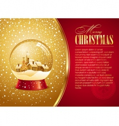 christmas card with snow globe vector image