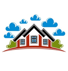 Colorful of country houses on nature background vector