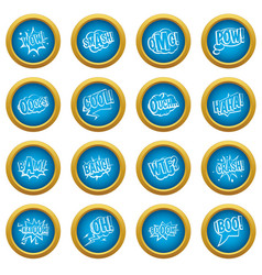 comic colored sound icons blue circle set vector image vector image