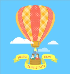 Couple in love on a hot air balloon vector image vector image
