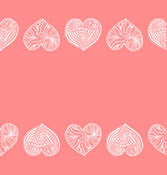 decorative horizontal border from white hearts vector image