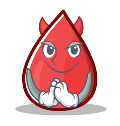 Devil blood drop cartoon mascot character vector