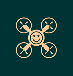 Drone quadrocopter icon smiley symbol vector