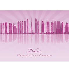 Dubai v2 skyline in purple radiant orchid vector