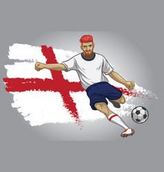 England soccer player with flag as a background vector