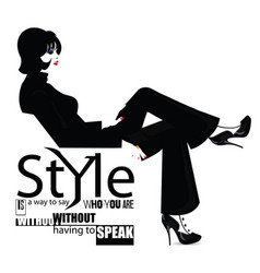 fashion quote with fashion woman vector image vector image