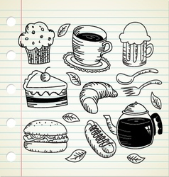food and drink doodle vector image