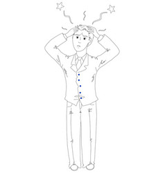 Frustrated businessman holding his head vector