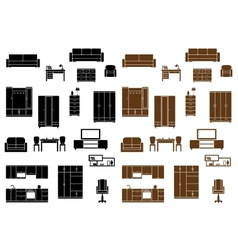 Furniture flat icons set vector image vector image