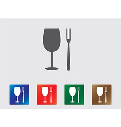 Glass and fork icons vector