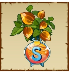 Glass vase with bouquet of nut and letter s vector