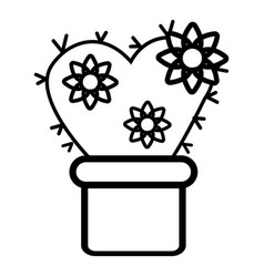 Heart cactus icon outline line style vector