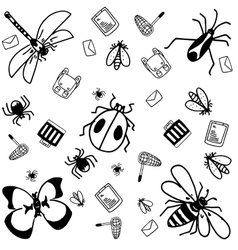 Insects doodle for kids vector