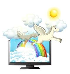 Pegasus flying in the blue sky vector