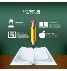 Pencil book and icon set infographic education vector