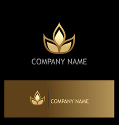 Plant leaf organic beauty gold logo vector