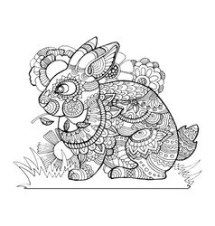 Rabbit bunny coloring book for adults vector image vector image