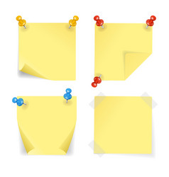realistic 3d detailed color pins and yellow papers vector image