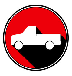 Red round black shadow - white pickup and flatbed vector