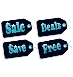 Sale tags on blue vector image