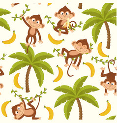 seamless pattern with monkey on palm tree vector image vector image