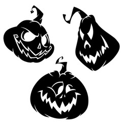 set of funny halloween jack o lanterns vector image vector image