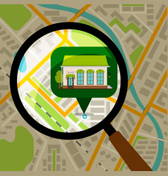 supermarket location at city map vector image vector image